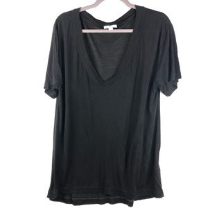 James Perse Standard Black Deep V-Neck T-Shirt